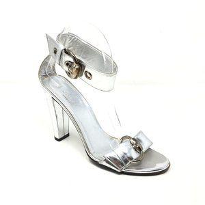 Gucci Ankle Strap Sandals Shoes Sz 6.5/36.5 Silver